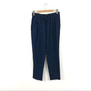 Zara Basic Blue Polka Dot Tapered Drawstring Pants